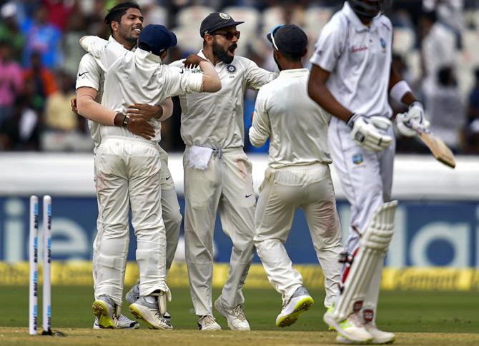 PIX: Umesh flays Windies as India complete 2-0 sweep