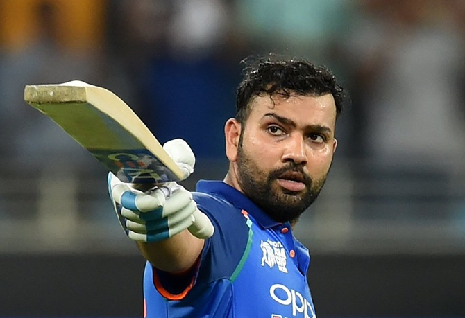 Rohit Sharma celebrates a ton against the West Indies, October 21, 2018. Photograph: ICC/Twitter