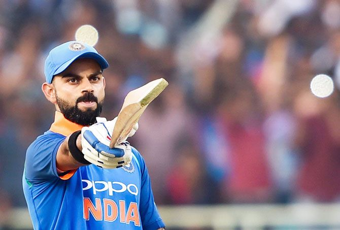 Virat Kohli acknowledges the applause from the crowd after registering his 37 ODI century on Wednesday