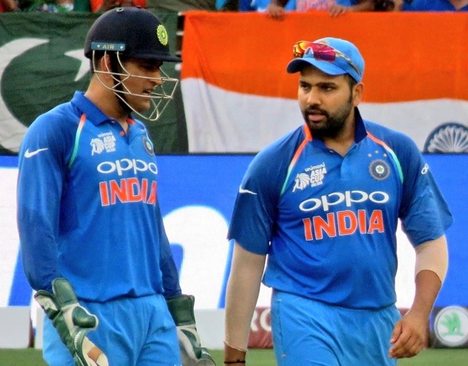 Rohit Sharma is proud that he has imbibed the ability to remain calm under pressure from M S Dhoni. Photograph: BCCI/Twitter