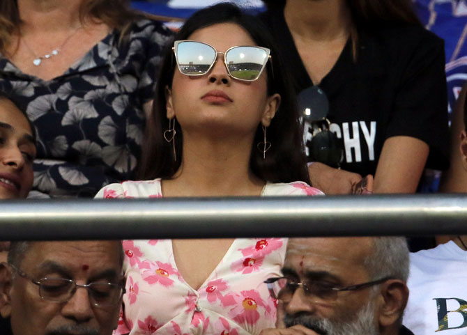 Sakshi Dhoni watches the IPL-12 game between the Chennai Super Kings and Mumbai Indians at the Wankhede Stadium in Mumbai on Wednesday, April 3