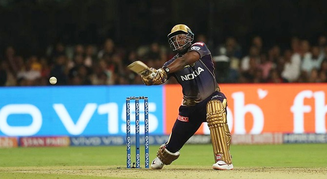 Andre Russell hammered an unbeaten 48 off 13 balls to take Kolkata Knight Riders past Royal Challengers in Bengaluru, April 5, 2019. Photograph: BCCI