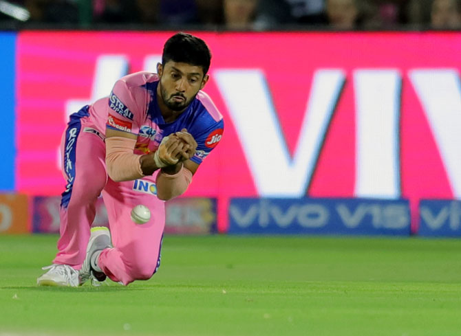 Rajasthan Royals' Rahul Tripathi drops a catch to give Kolkata Knight Riders' Sunil Narine's a reprieve, off the bowling of Dhawal Kulkarni during their IPL match on Sunday, April 7