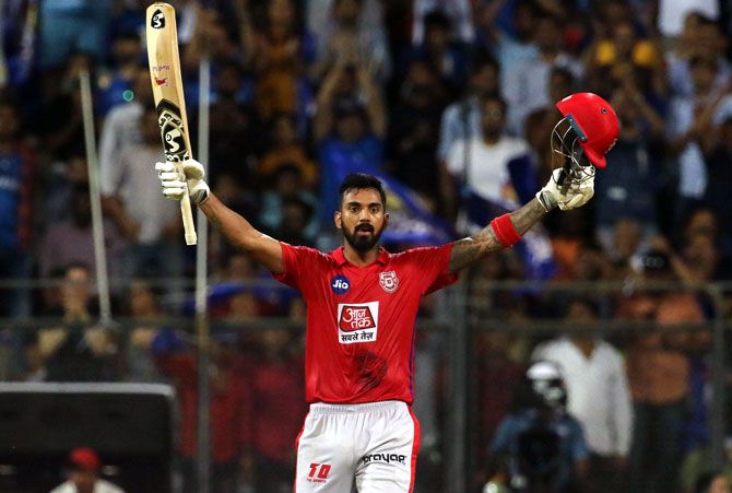 KL Rahul celebrates after completing his century