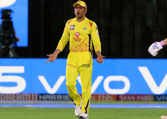 Chennai Super Kings captain Mahendra Singh Dhoni stormed on to the field during the IPL match against Rajasthan  Royals on Thursday