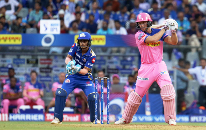 Rajasthan Royals' Jos Buttler bata en route his 89