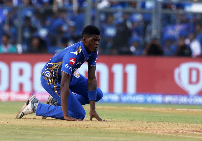 Mumbai Indians' Alzarri Joseph injured himself during the match against Rajasthan Royals on Saturday