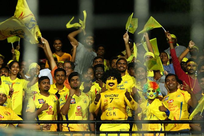 Chennai Super Kings fans during match in IPL-12 between CSK and the Kolkata Knight Riders.