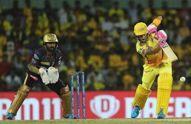 Faf du Plessis of Chennai Super Kings batting during a match in IPL-12.