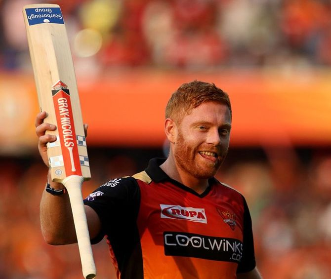 Jonny Bairstow of Sunrisers Hyderabad acknowledge the crowd after getting out for 114 during a match IPL-12 against Royal Challengers Bangalore.