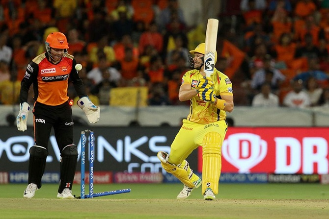 Chennai Super Kings opener Shane Watson finds his stumps shattered by Shahbaz Nadeem