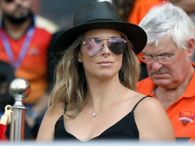 David Warner's wife Candice watches the Indian Premier League match between Sunrisers Hyderabad and Kolkata Knight Riders in Hyderabad on Sunday