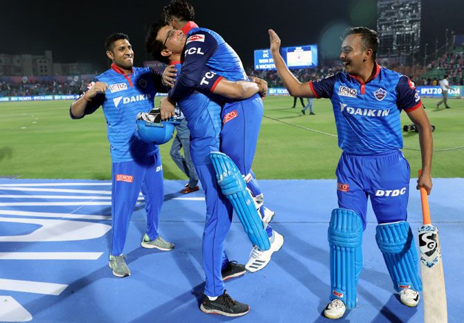 IMAGE: Sourav Ganguly hugs Rishabh Pant after his unbeaten half-century steered Delhi Capitals to a six-wicket win over Rajasthan Royals. Photograph: Kind courtesy BCCI