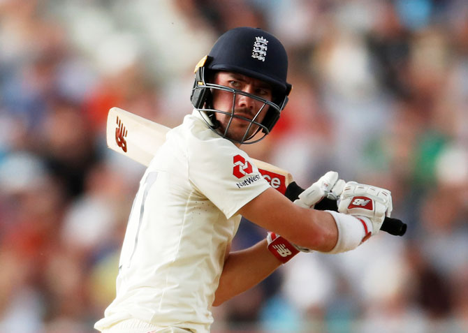England's Rory Burns in action during his century against Australia in the first Test on Friday
