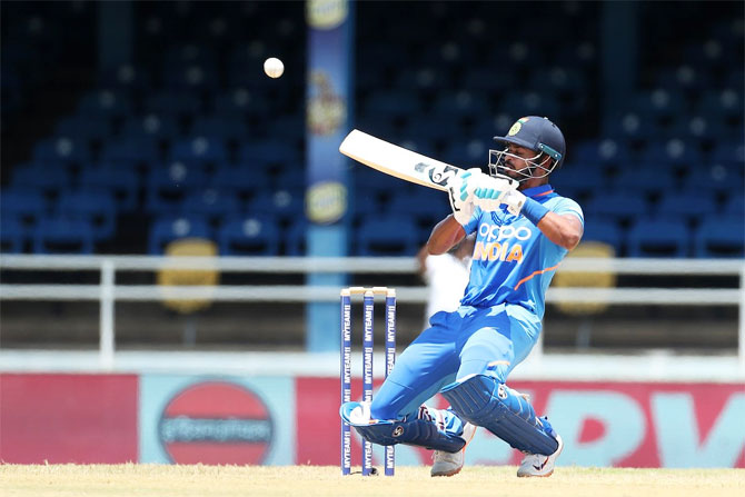 Shreyas Iyer plays an upper cut during his innings of 71