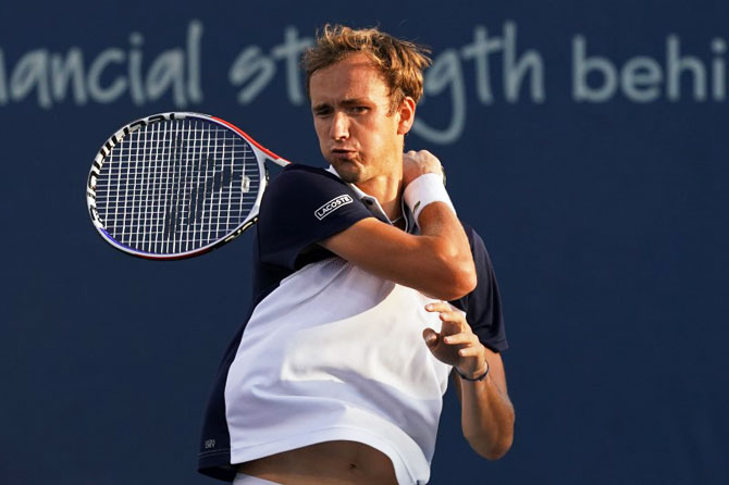 Russia's Daniil Medvedev, who also beat Djokovic in April at Monte Carlo, will play Belgian David Goffin in the Cincinnati final on Sunday