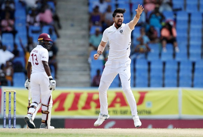 Ishant Sharma appeals successfully for leg before wicket against Shamarh Brooks.