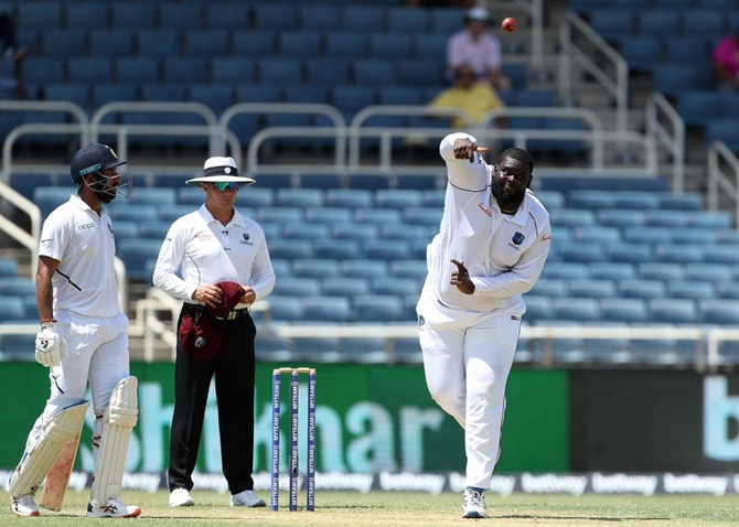 West Indies all-rounder Rahkeem Cornwall bowls on Day 1 of the second Test against the West Indies, in Jamaica