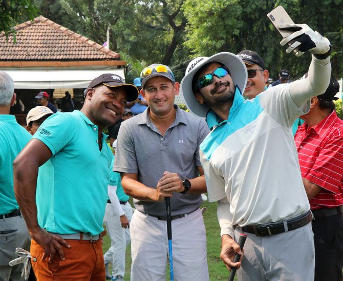 Former India all-rounder Ajit Agarkar (centre) alongside former India pacer RP Singh and Brian Lara at a promotional event in Mumbai on Friday