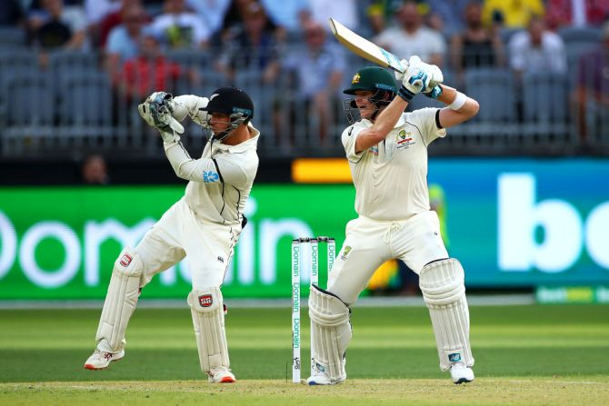 Australia's Steve Smith bats on Day 1