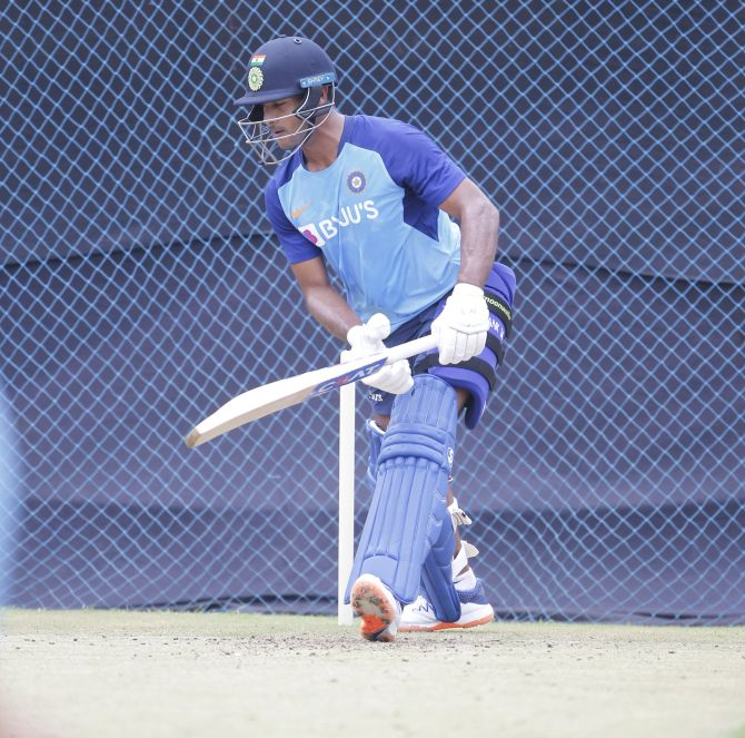Mayank Agarwal bats in the nets at a practice session on Friday