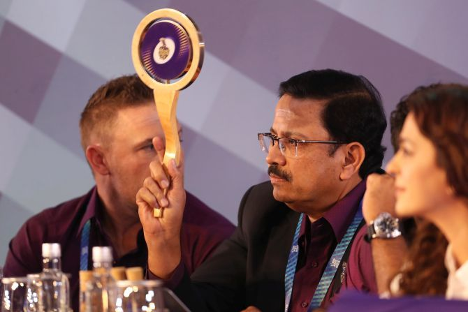 Kolkata Knight Riders CEO, Venky Mysore makes a bid during the Vivo Indian Premier League (IPL) Player Auction ahead of the 2020 season in Kolkata on Thursday