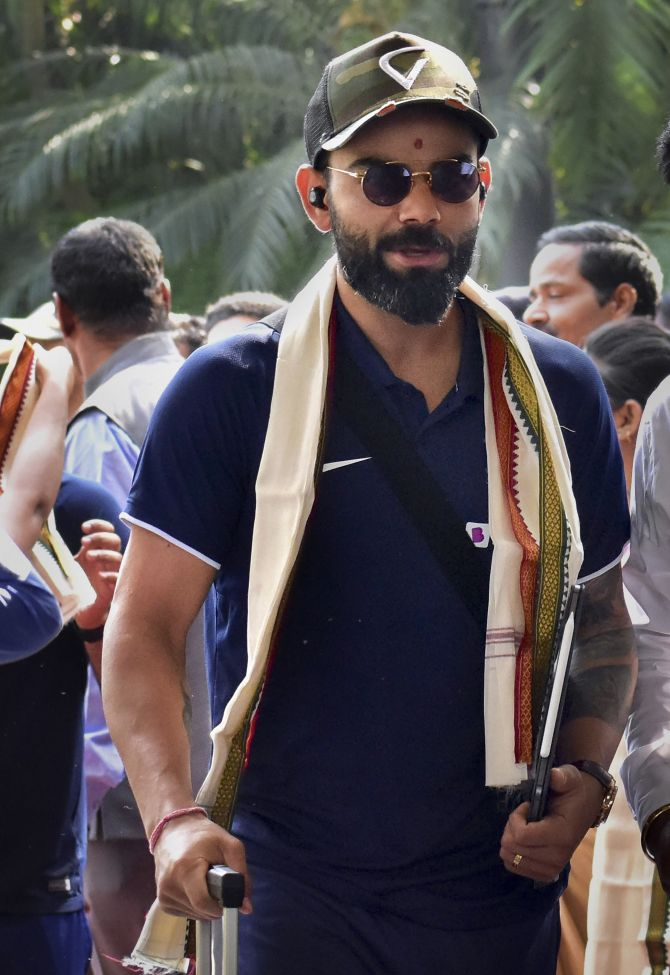 India captain Virat Kohli arrives at a city hotel in Bhubaneswar on Thursday