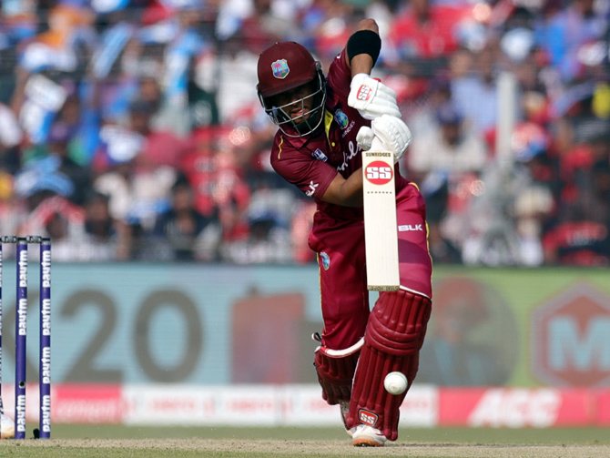 Shai Hope scored 42 off 50 balls and finished the year with 1345 runs