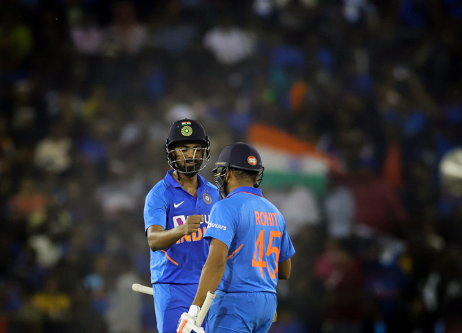 Rohit Sharma made a run-a-ball 63 and KL Rahul scored 77