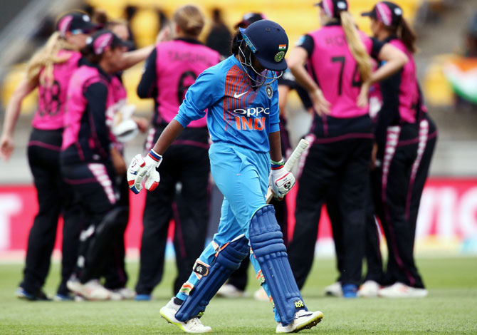 Dayalan Hemalatha of India leaves the field after being dismissed during the first T20I against New Zealand on Wednesday