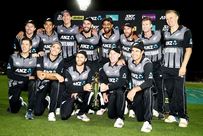 The Black Caps celebrate after winning the 3rd T20I and the T20I series against India at Seddon Park in Hamilton on Sunday