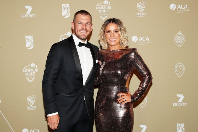 Australia ODI and T20 captain Aaron Finch arrives with wife Amy for the Australian Cricket Awards