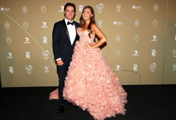 Travis Head and Jessica Davies attend the 2019 Australian Cricket Awards