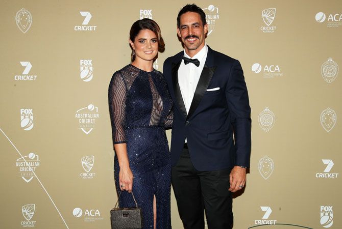 Mitchell Johnson and Jessica Bratich Johnson attend the 2019 Australian Cricket Awards