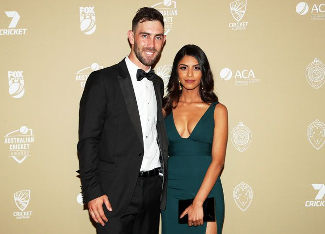 Glenn Maxwell and his girlfriend Vini Raman attend the 2019 Australian Cricket Awards. Maxwell received the Male Twenty20 International Player of the Year award