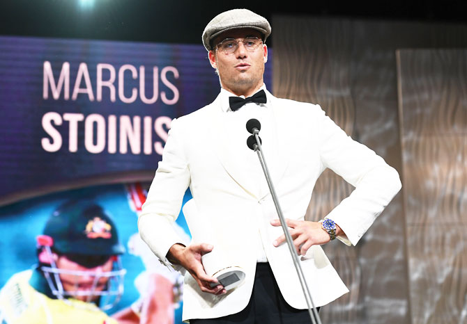 Marcus Stoinis speaks after receiving the Male One-Day International Player of the Year at the Australian Cricket Awards on Monday, February 11