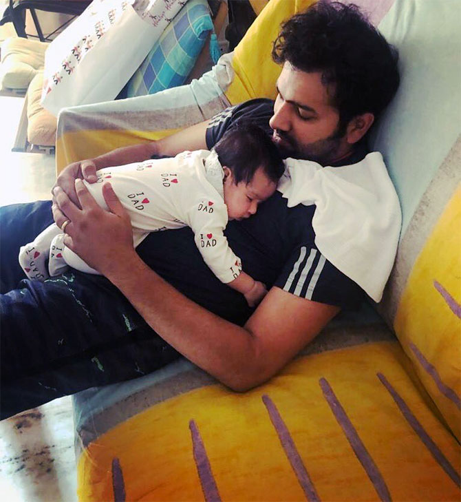 Rohit Sharma posted this picture of himself and his daughter Samaira on Valentine's Day, Thursday, February 14