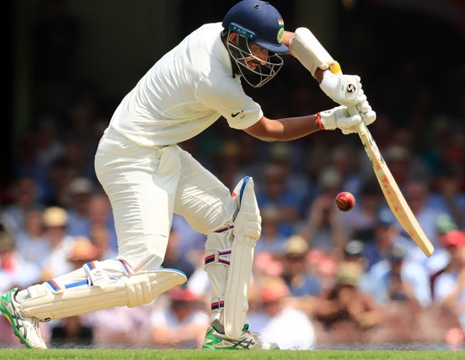 Pujara hit his 49th first class hundred and shared an unconquered 201-run fourth-wicket stand with Sheldon Jackson (90) to help his side end the fourth day at 224 for three, just 55 runs away from victory