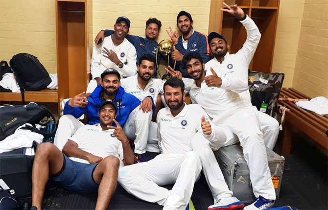 Indian's players celebrate after winning the Test series against Australia, in Sydney, in January.