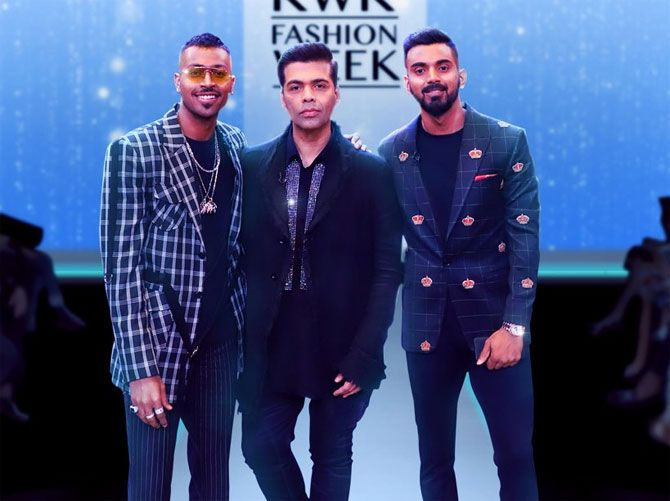 Hardik Pandya with teammate KL Rahul (right) and talk show host Karan Johar