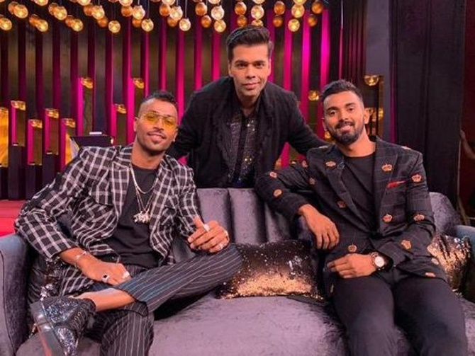 Hardik Pandya and K L Rahul on the Koffee With Karan couch with Karan Johar, the show's host.