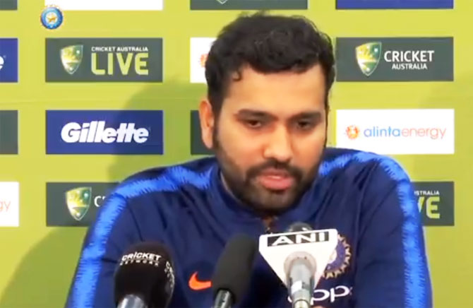 India's ODI vice-captain Rohit Sharma speaks during a press conference in Sydney on Thursday