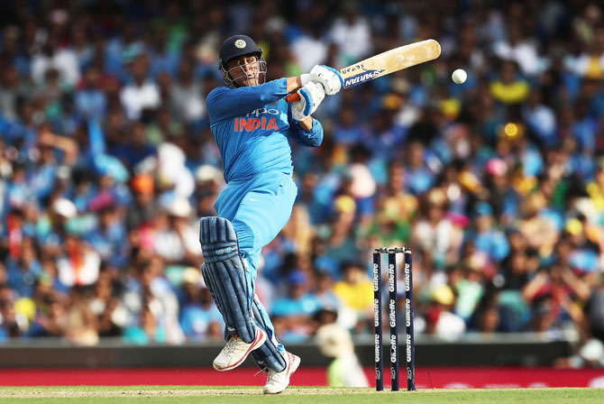 Mahendra Singh Dhoni bats during his innings of 51 against Australia in the 1st ODI in Sydney on Saturday