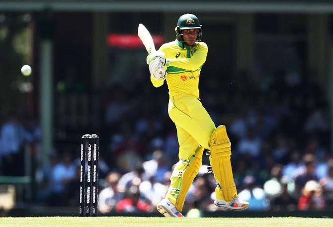 Australia's Usman Khawaja bats en route his fifty