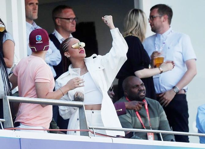 Pop idol Rihanna at the World Cup match between the West Indies and Sri Lanka at Chester-Le-Street on July 1