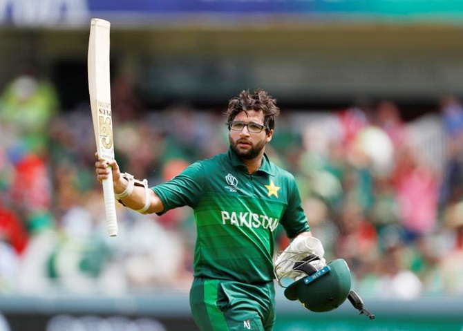 Pakistan's Imam-ul Haq gestures to the crowd as he leaves the field after being declared out hit-wicket soon after completing his hundred in Friday's World Cup match against Bangladesh.
