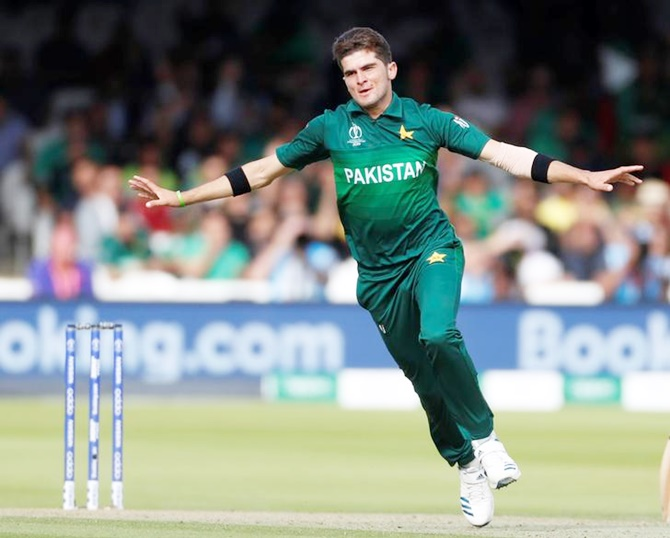 Pakistan's Shaheen Afridi celebrates taking the wicket of Bangladesh's Mahmudullah in Friday's Wolrd Cup match at Lord's.