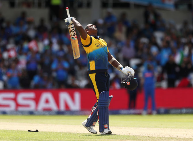Sri Lanka's Angelo Mathews celebrates on reaching his century