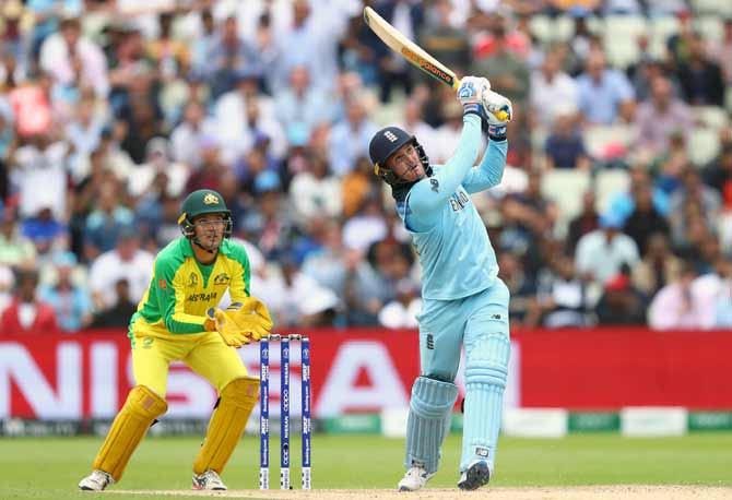 England's Jason Roy hits a six off the bowling of Australia's Steve Smith
