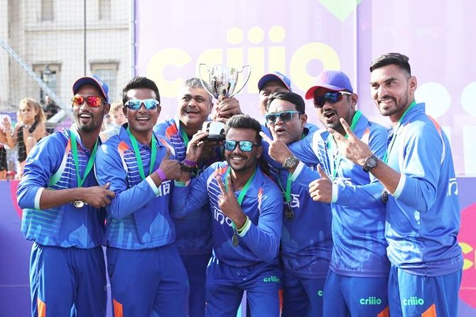 The Indian team celebrates winning the Criiio Cup at Trafalgar Square on July 12, 2019, in London, England.